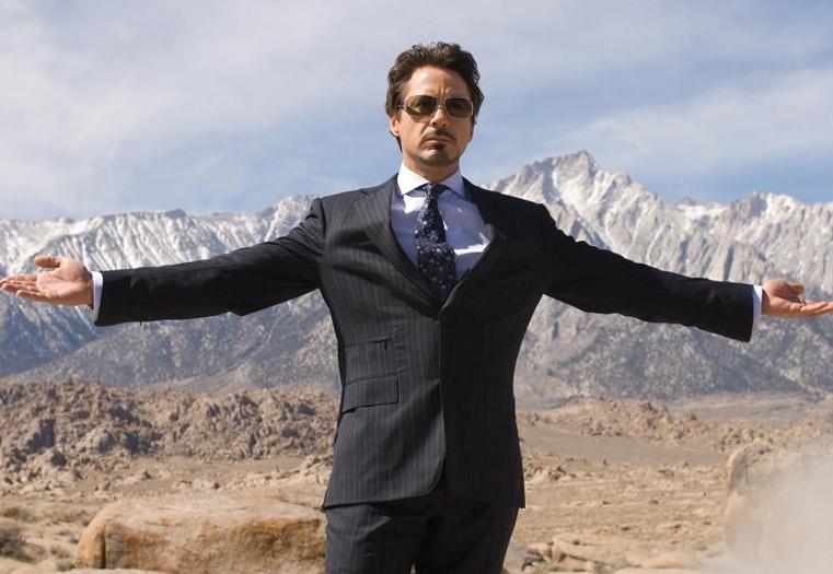 "Robert Downey Jr. plays Tony Stark in ""Iron Man"""