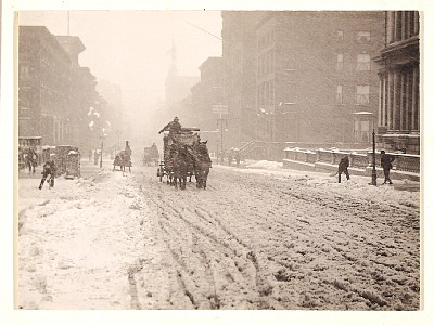 """Winter, Fifth Avenue"" (1892) is an early pictorialist image by Stieglitz. Stieglitz waited for three hours on the busy New York street in the midst of a snowstorm, waiting for the perfect composition. He could not manufacture it like a painter could."