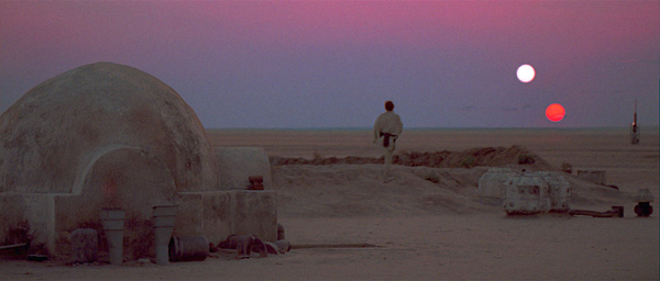"Luke watches a double sunset on the planet of Tatooine in this classic scene from ""A New Hope"""