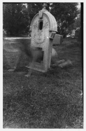 """Untitled, Boulder Colorado"" (1972-1975) This image, taken while Woodman lived in Colorado, is similar to the ""ghost pictures"" that she produced years later."