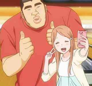 Rinko asking Takeo to take a selfie with her.