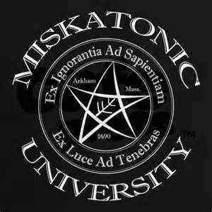A crest for the fictional Miskatonic University