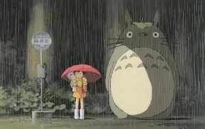 This is a very iconic scene in My Neighbor Totoro. The character Totoro is now serving as Ghibli's mascot, sort of like Mickey Mouse does for Disney.