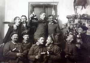 Members of the Imperial German Flying Corps drinking champagne