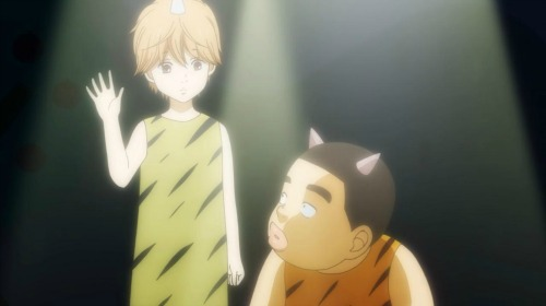 Suna and Takeo acting out Red Ogre and Blue Ogre - a story about friendship.