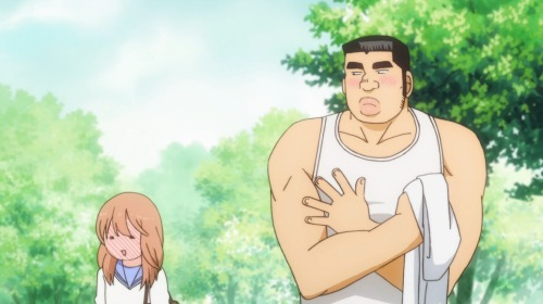 Yamato embarrassed to see Takeo's body.