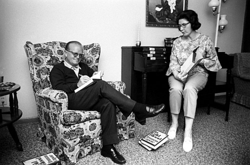 1966, Holcomb, Kansas - – Truman Capote signing copies of his book  with Harper Lee.  Capote and Lee are in Kansas during  the making of the film of the same name.