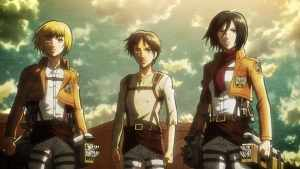 This Anime is relatively recent, set in a post apocalyptic world where man-eating monsters rule the earth.