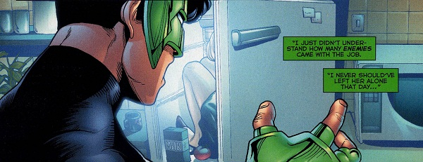 Green Lantern discovering his dead girlfriend stuffed in a fridge