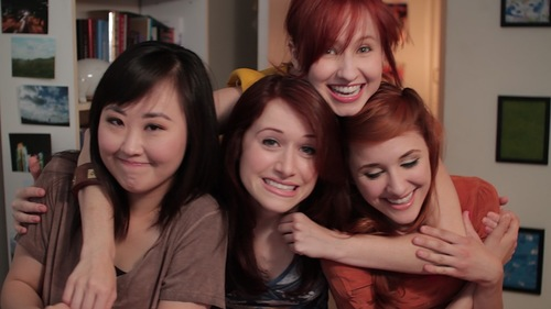 From left to right: Charlotte Lu (Julia Cho), Lizzie Bennet (Ashley Clements), Lydia Bennet (Mary Kate Wiles), and Jane Bennet (Laura Spencer)