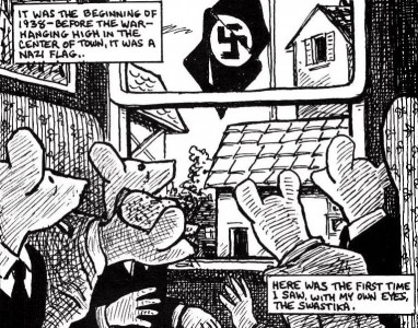 One of many darkly striking images in Art Spiegelman's Maus.