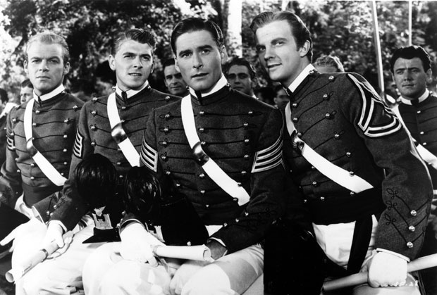 "From left: David Bruce, Ronald Reagan, Errol Flynn and William Lundigan in the 1940 film ""Santa Fe Trail"""