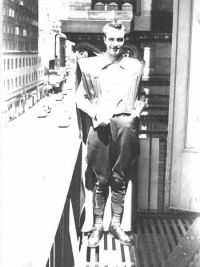"Forrest J. Ackerman in his ""futuristicostume"" in 1939"