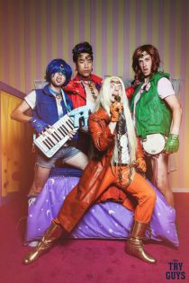 The Try Guys cosplaying as Sailor Moon characters, but putting their own 'galactic rockstar' twist.