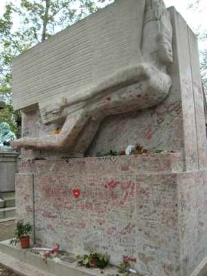 Oscar Wilde's grave in Paris, France--
