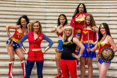 A group of women cosplaying as Wonder Woman - all equally beautiful. (Photo credits: Patrick Sun.)