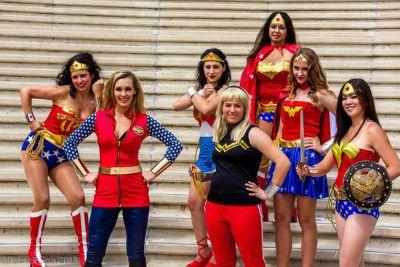 A group of women cosplaying as Wonder Woman - all equally beautiful. (Photo credits: Patrick Sun.)
