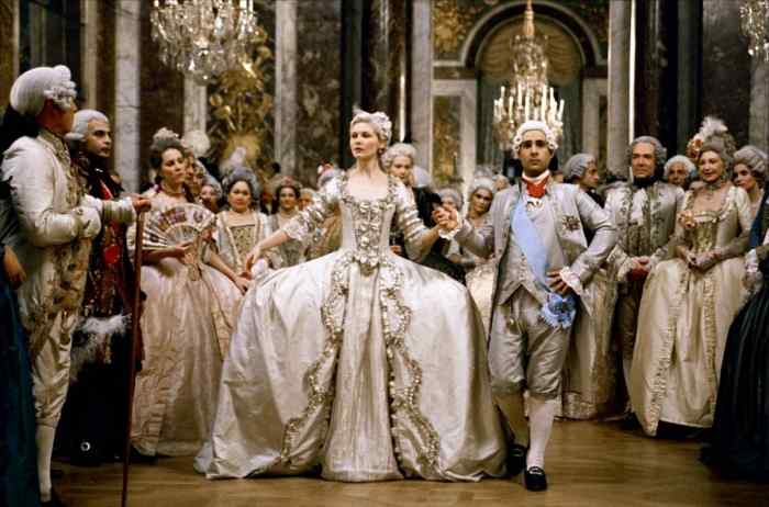 "In ""Marie Antoinette"" director Sofia Coppola juxtaposes her faithful recreation of the decadence of seventeenth century Versailles with contemporary music such as the popular song ""I Want Candy,"" which lends the film greater relevancy to the modern viewer."
