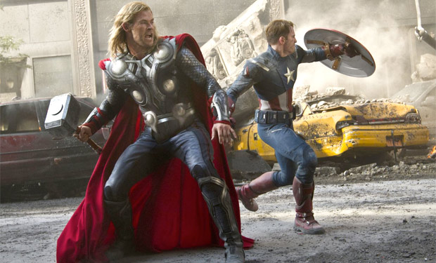 Thor and Captain America fight side by side in The Avengers