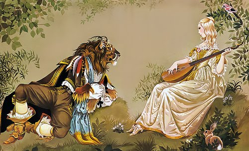 Illustration of Beauty and the Beast.