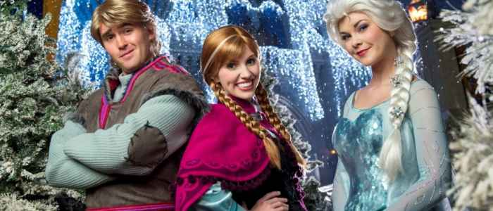 """Nightly beginning Nov. 5 in the Magic Kingdom, Anna and Elsa from """"Frozen"""" will appear in a new show on the Forecourt Stage in front of Cinderella Castle in the heart of the park, as Queen Elsa uses her incredible powers to transform Cinderella Castle into a glistening ice palace for the holidays. Anna, Elsa, Kristoff and Olaf also will join the festive procession ÒMickeyÕs Once Upon a Christmastime ParadeÓ along with a flurry of skaters, skiers and ice cutters from the Kingdom of Arendelle. The parade is offered during the special-ticket MickeyÕs Very Merry Christmas Party, select nights November 7 Ð December 19, and each afternoon for park guests Dec. 20-31. (David Roark, photographer)"""