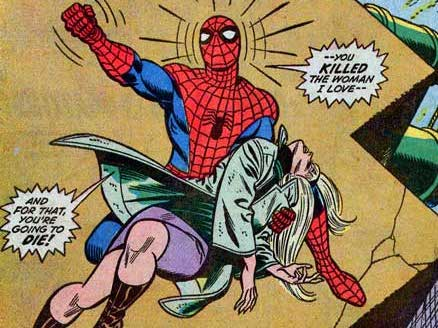Spider-Man holding the dead body of Gwen Stacy