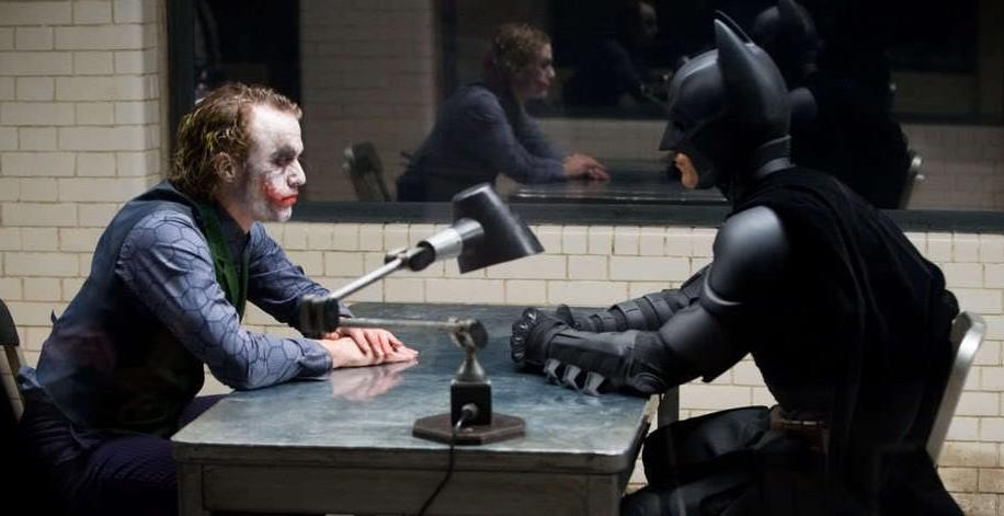 Joker and Batman in the famous interrogation scene in The Dark Knight