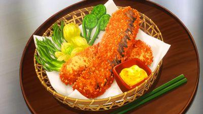 Soma Yukihara and Tadokoro Megumi's dish, char okakiage.