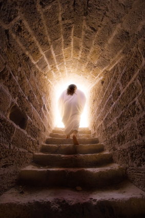 The risen Jesus exiting the tomb
