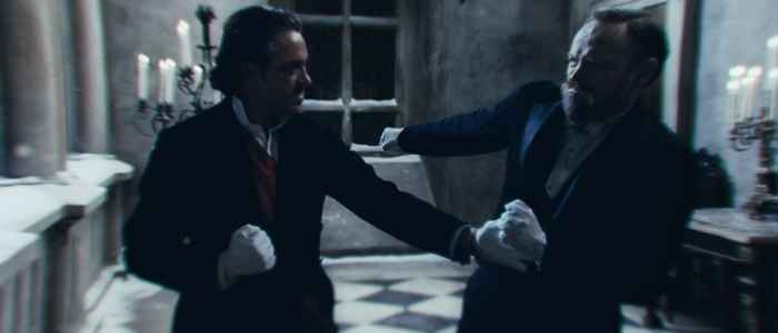 Sherlock and Moriarty begin their face off above the Reichenbach Falls