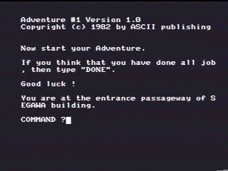 Then: White text on a black background is typical of text adventure gameplay.