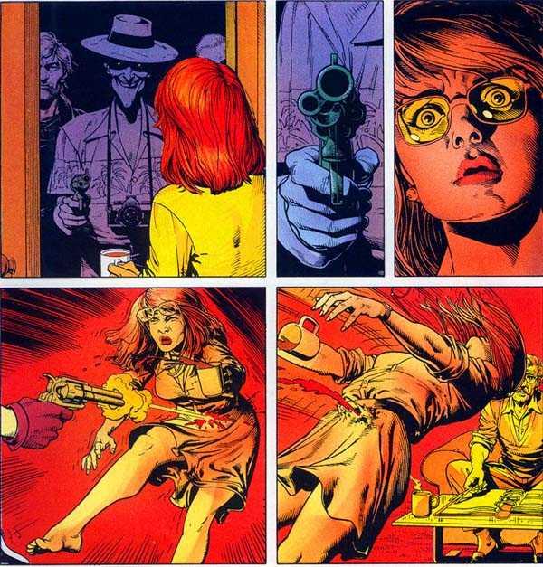 Joker shooting Barbra Gordon in The Killing Joke