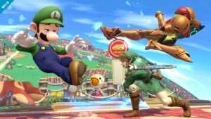 Some action in Super Smash Bros. Brawl. Look at that denim on Mario! Image from gengame.net.