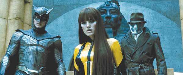 Nite Owl, Silk Spectre, and Rorschach in Watchmen
