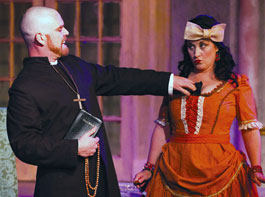 This picture if from the play being performed. Tartuffe is telling Dorine to cover her bust as it is showing.
