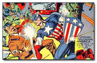 A 1940's Captain America cover featuring Hitler as the villain