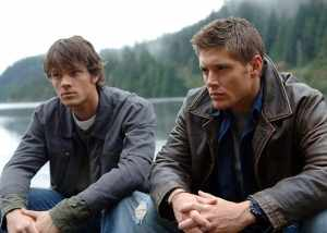 Jared Padalecki as Sam and Jensen Ackles as Dean in Supernatural.