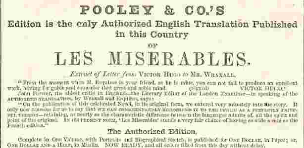 Advertisement for Les Miserables from Harper's Weekly, December 6, 1862. Missouri History Museum Library, St. Louis.