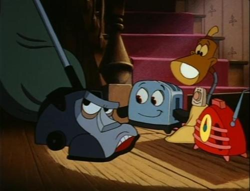"""Kirby, Toaster, Blanky, Lampy, and Radio, from """"The Brave Little Toaster."""""""
