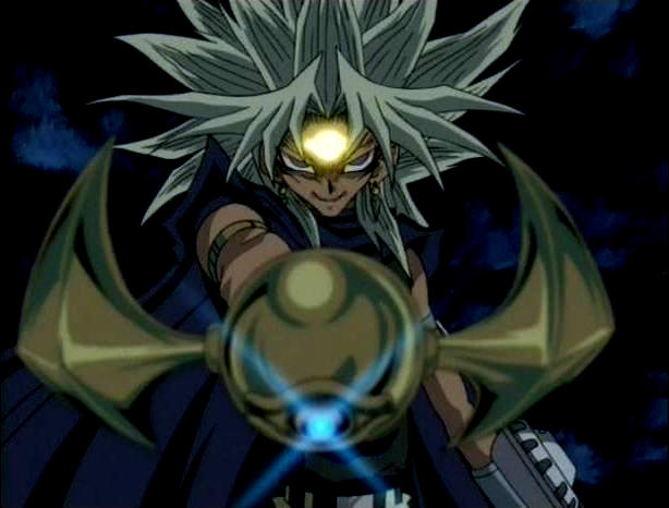 "A screen shot of ""evil"" Marik wielding the millennium rod"