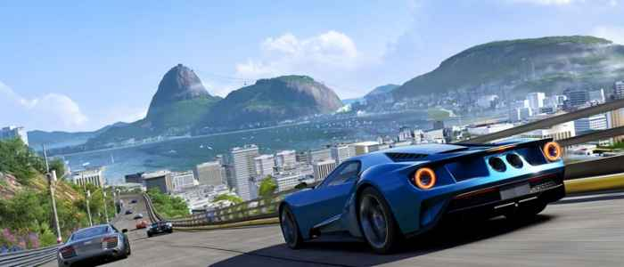 Forza 6's Rio track and the 2016 Ford GT.