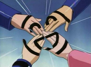 Yugi and his friends marking themselves with a symbol of friendship