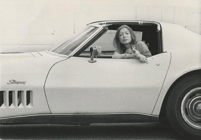 A quintessential California writer in a quintessential California method of transport.