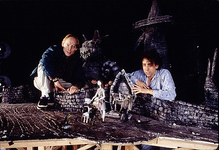 Selick and Burton on the set of Nightmare Before Christmas.