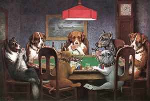 Dogs playing poker, one of many examples of kitsch art.