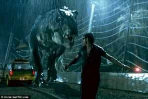 Jeff Goldblum running fron a T-Rex in Jurassic Park