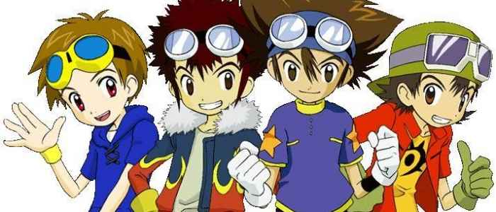 "The respective ""Goggle heads"" of the First Four Digimon seasons."