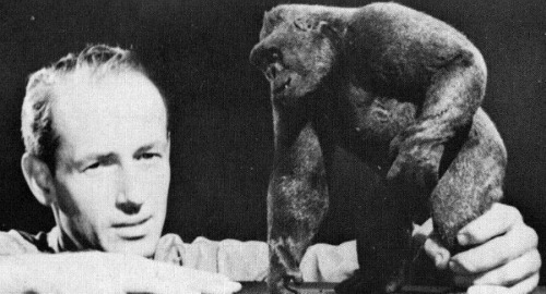 A young Ray Harryhausen with a model of King Kong. He passed away in 2013 at the age of 92.