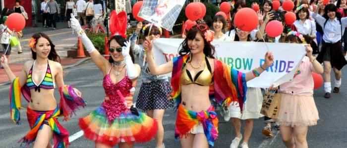 Participants in Japan's annual Gay Pride March (Image via The Japan Times)