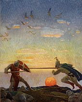 The combat of Arthur and Mordred, illustrated by N. C. Wyeth for Sidney Lanier's The Boy's King Arthur, 1922.